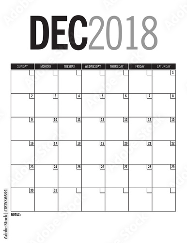 December 2018 Blank Calendar Page With Dates Stock Photo And