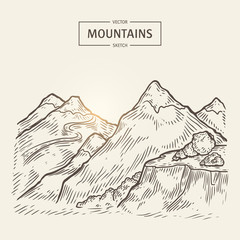 Sketch of mountains landscape. Vector highlands silhouette with hight rocks. Beautiful panorama is good for a banner, poster, flyer or postcard design.