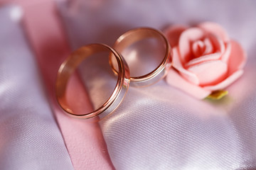 Beautiful gold rings for the bride in a pink box