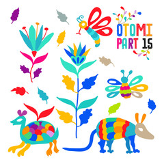 Vector folk Mexican Otomi Style embroidery Pattern set. Folk embroidery ornament elements.