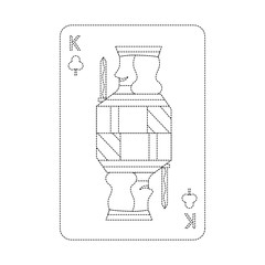 king of clover or clubs french playing cards related icon image vector illustration design  black dotted line