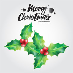 Merry Christmas greeting card, holly vector illustration Christmas ornaments