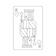 king of hearts french playing cards related icon image vector illustration design  black dotted line