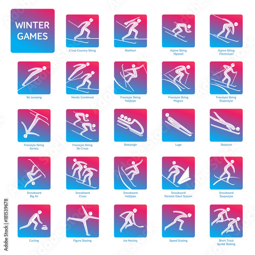 Winter sport games competition icon  All sport species of events in