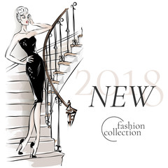 Black and white fashion sale banner with woman fashion silhouette on the stairs, new collection online shopping social media ads web template with beautiful girl. Vector illustration