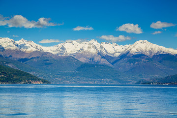 Picturesque view on Lake Como and Alps in Italy