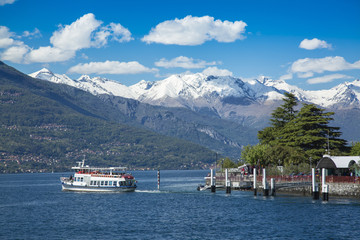 Ferry on the Lake Como in Bellagio City, Italy