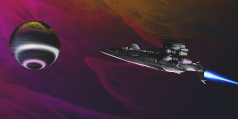 Gas Planet and Spaceship - A spaceship nears an intriguing large gas planet to study its atmosphere and bright rings surrounding it.