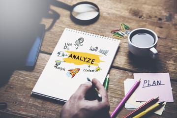 Businessman written analyze text