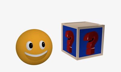 Lachendes Emoticon schaut zu einem Würfel auf dem ein Fragezeichen abgebildet ist.