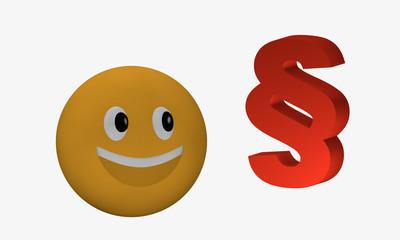 Lachendes Emoticon schaut zu einem Paragraphenzeichen.