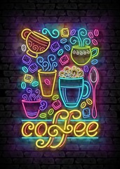 Coffee House Vintage Poster Template with Cups, Swirl Hot Steam, Graines and Sugar. Cafe Label, Restaurant. Shiny Neon Light Style. Advertisement Flyer. Vector 3d Illustration. Abstract Decorative Art