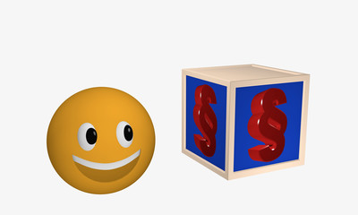 Lachendes Emoticon schaut zu einem Würfel auf dem ein Paragraphenzeichen abgebildet ist.
