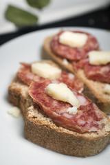 Sicilian salami bruschetta and cheese