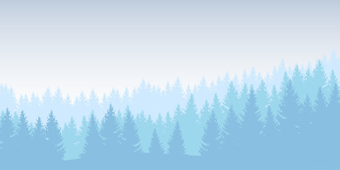 Vector illustration of a winter forest in several layers under a blue sky