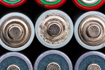 Used batteries background
