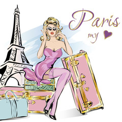 Fotomurales - Pin up style sexy woman sitting on suitcases near Eiffel Tower in Paris, beauty girl wearing pink travel to Paris, hand drawn vector illustration