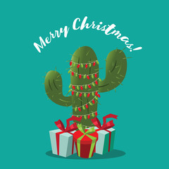 Merry Christmas design with cartoon cactus festooned with Christmas lights and surrounded by gifts. EPS 10 vector illustration.