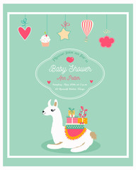 Invitation for baby shower with funny lama