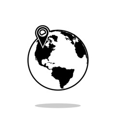 pin on global world map icon. Flat design  Illustration
