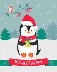 Christmas card with holiday penguin
