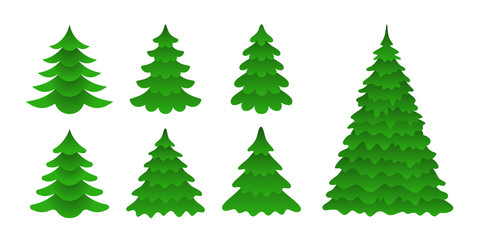 Set of Christmas trees in a flat style