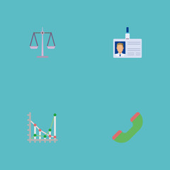 Flat Icons Libra, Diagram, Telephone And Other Vector Elements. Set Of Trade Flat Icons Symbols Also Includes Phone, Chart, Handset Objects.
