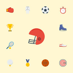 Flat Icons Reward, Ball, Rugby And Other Vector Elements. Set Of Sport Flat Icons Symbols Also Includes Darts, Karate, Boot Objects.