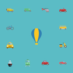 Flat Icons Carriage, Airship, Scooter And Other Vector Elements. Set Of Vehicle Flat Icons Symbols Also Includes Chopper, Moped, Cabriolet Objects.