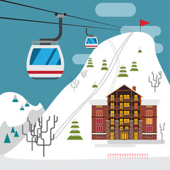 Winter landscape with ski resort, ski funicular and hotels.