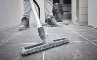 Obraz After builders cleaning with vacuum cleaner and copy space - fototapety do salonu