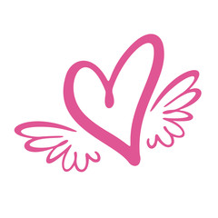 Heart with wings. Flat Style Vector Illustration