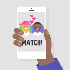 Dating service, mobile application. A hand holding a smart phone. Love and relationships. Interracial couple. Flat editable vector illustration, clip art