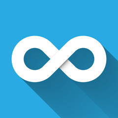 Infinity symbol icon. Concept of infinite, limitless and endless. Simple white vector design element with gradient long shadow isolated on blue background.