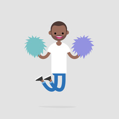 Cheerleader jumping with the pompoms. Sport activities. Supporting the team. Young excited character celebrating the success. Flat editable vector illustration, clip art