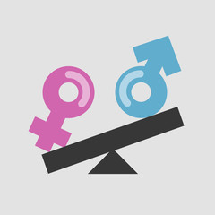 Gender equality. Male and female signs on the scales. Feminism. Human rights. Social problems. Flat editable vector illustration, clip art