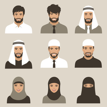 set of flat muslim avatars, vector arab people icon,  saudi characters