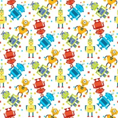 Cute robots futuristic kids vector seamless pattern. Cyborg character and robot android illustration on white background