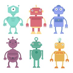 Cute robots, cyborg machine vector science characters. Cyborg and robot character friendly, robotic mascot illustration in flat and cartoon style on white background.