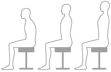 スツールに座るときの良い姿勢悪い姿勢