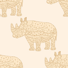 Rhinoceros. Zentangle. Seamless pattern. Design Zentangle. Hand drawn abstract patterns on isolation background. Design for spiritual relaxation for adults. Line art creation. Decorative style
