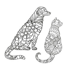 Dog. Cat. Design Zentangle. Hand drawn dog and cat with abstract patterns on isolation background. Design for spiritual relaxation for adults. Black and white illustration for coloring. Zen art