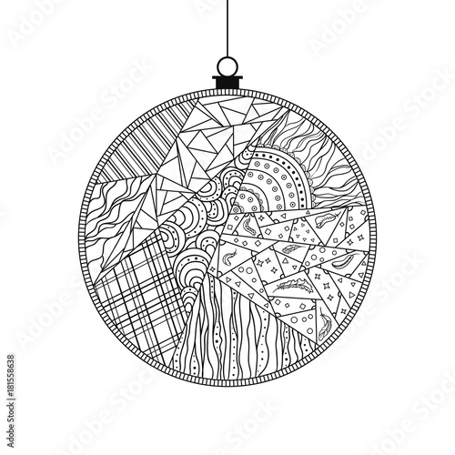 Christmas tree toy. Happy New Year. Zentangle. Hand drawn christmas ...