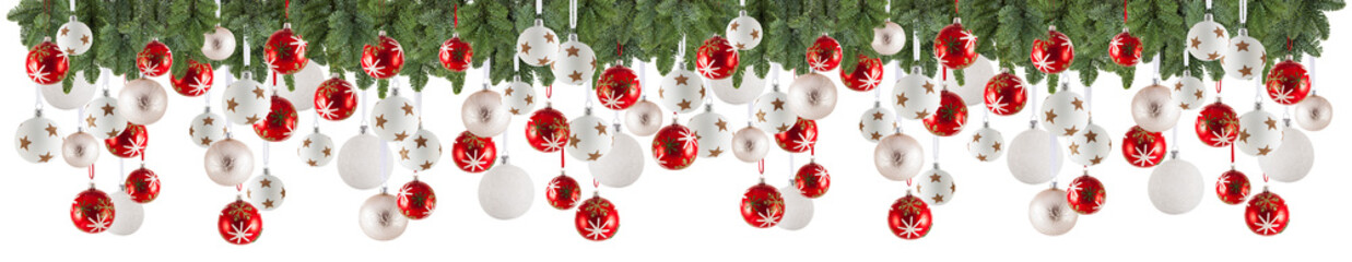 Christmas garland background with ornaments, christmas baubles, free space for your text