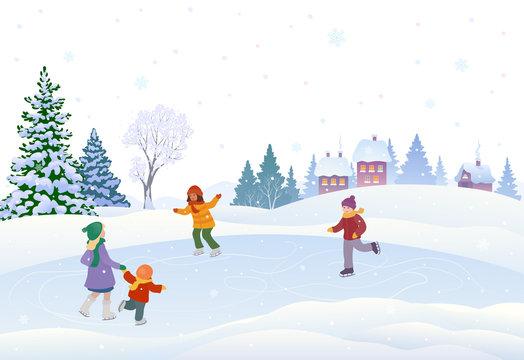 Skating kids in a village