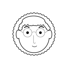 cartoon elderly woman face icon over white background vector illustration