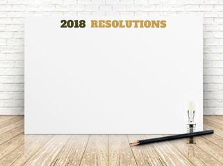 2018 resolotions on white paper poster on white marble room wall,Business presentation mock up for adding your list.