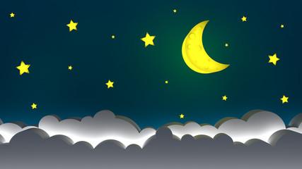 moon on the sky, good night illustration design 3d render 3d illustration
