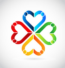 Colorful abstract hearts in a team formation, icon