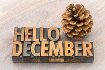 Hello December word abstract in wood type
